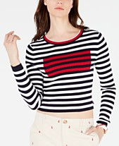 76a2750cf4e6c Tommy Hilfiger Cropped Striped Ribbed Cotton Sweater
