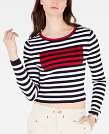 Tommy Hilfiger Cropped Striped Ribbed Cotton Sweater