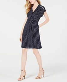 Monteau Petite Short-Sleeve Shirt Dress