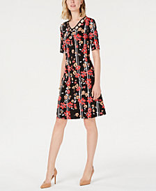 NY Collection Petite Printed Cage-Neck Dress