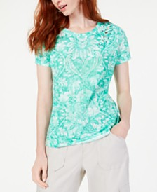 I.N.C. Petite Printed Grommet Lace-Up Top, Created for Macy's