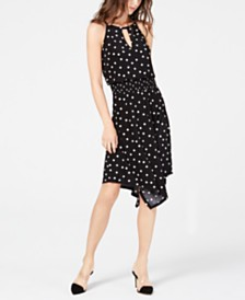 I.N.C. Petite Sleeveless Printed Handkerchief-Hem Dress, Created for Macy's