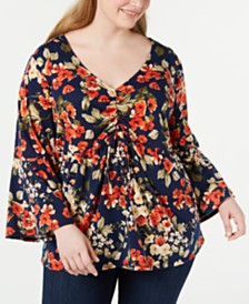 NY Collection Plus Size Printed Cinch-Front Top