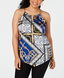 I.N.C. Plus Size Scarf-Print Halter Top, Created for Macy's