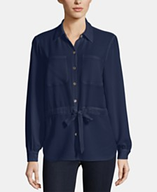 ECI Tie-Waist Button-Down Top