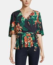 ECI Tropical-Print Faux-Wrap Top