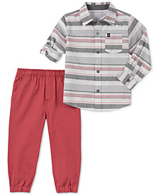 Calvin Klein Baby Boys 2-Pc. Cotton Striped Shirt & Twill Pants Set