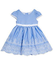 Rare Editions Baby Girls Embroidered Gingham Seersucker Dress