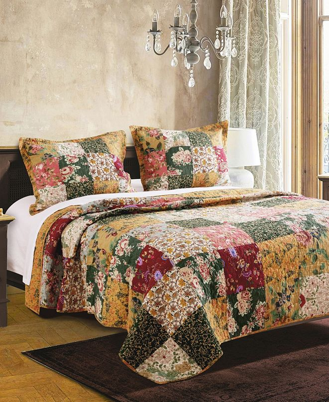 Greenland Home Fashions Antique Chic Quilt Set, 3-Piece Full - Queen