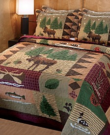 Moose Lodge Quilt Set, 3-Piece Full - Queen