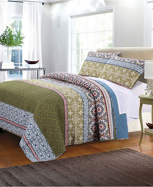 Greenland Home Fashions Shangri-La Quilt Set, 3-Piece King