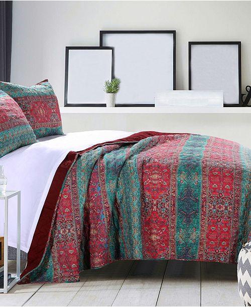 Greenland Home Fashions Dakota Sunset Quilt Set, 3-Piece Full - Queen