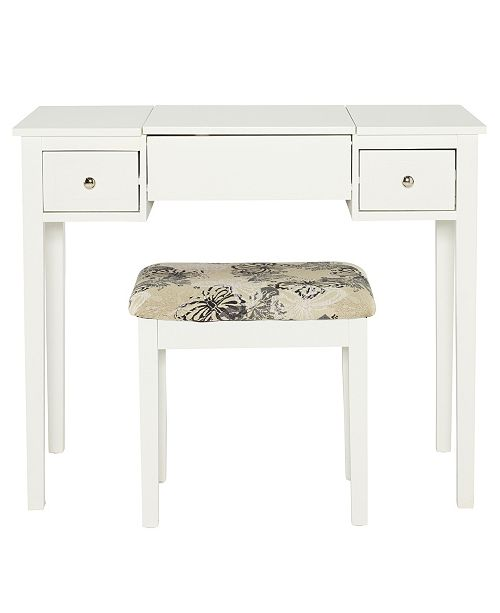 Linon Home Décor Butterfly Vanity Set With Bench And