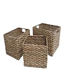 Set of 3 Tall Rectangular Bangkuang Storage Baskets