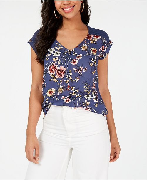 BCX Juniors' Printed Half-Zip Blouse