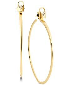 Michael Kors Sterling Silver Pavé Padlock Medium Hoop Earrings