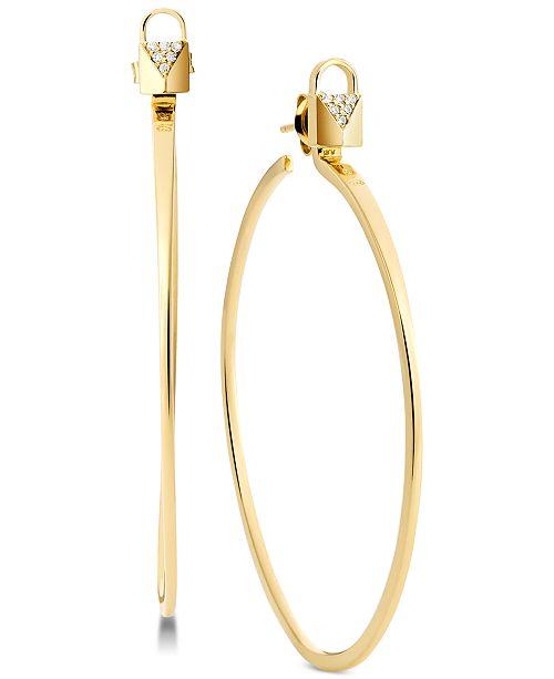 fde679247 ... Michael Kors Sterling Silver Pavé Padlock Hoop Earrings ...