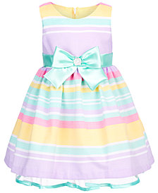 Bonnie Baby Baby Girls Multicolor Striped Dress
