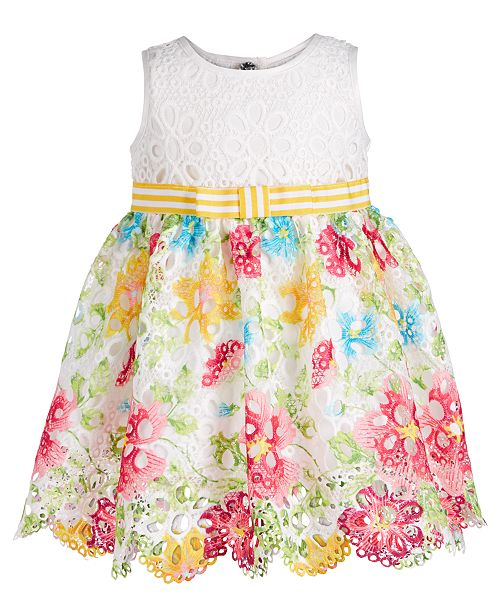 e7d9a9114671 Bonnie Baby Baby Girls Floral-Print Lace Border Dress & Reviews ...