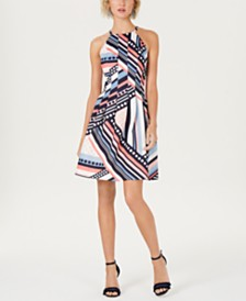 Vince Camuto Petite Printed Halter Dress