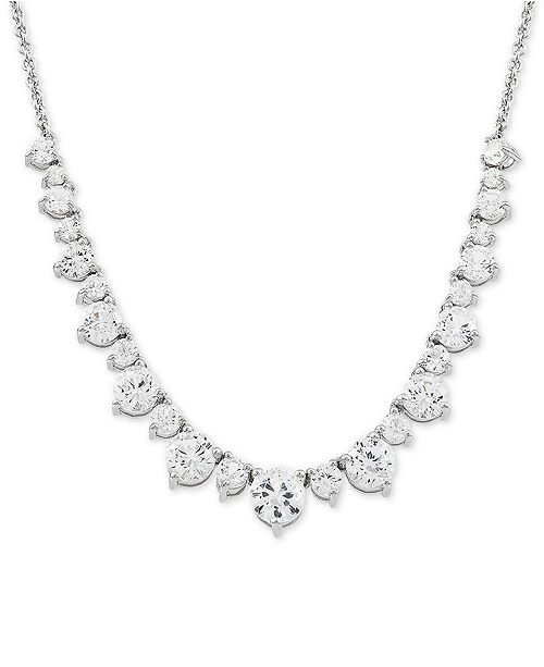 "Macy's Swarovski Zirconia 16"" Collar Necklace in Sterling Silver"