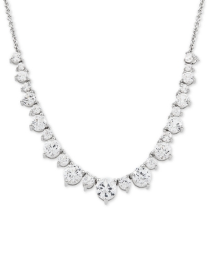 """Cubic Zirconia 16"""" Collar Necklace in Sterling Silver"""