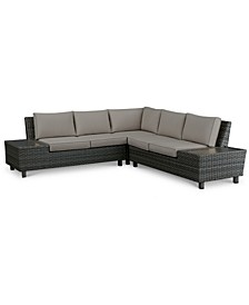 Lake Toba Aluminum Outdoor 3-Pc. Sectional Seating Set (1 Left Sectional Unit, 1 Corner Unit & 1 Right Sectional Unit), Created for Macy's