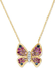 "Multi-Sapphire (1-1/2 ct. t.w.) & Diamond (1/10 ct. t.w.) Butterfly 16"" Pendant Necklace in 14k Gold"