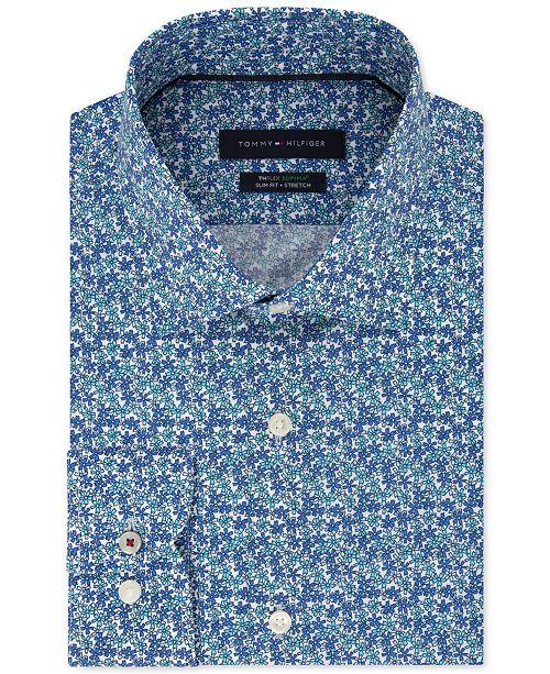 9e07ab685 ... Tommy Hilfiger Men's Slim-Fit TH Flex Non-Iron Supima Stretch Floral  Dress Shirt ...