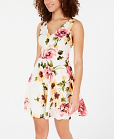 City Studios Juniors' Scalloped Floral Scuba Dress