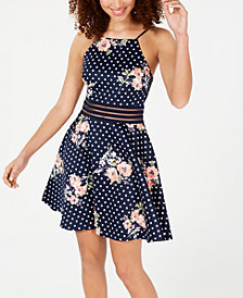 City Studios Juniors' Polka Dot Illusion Fit & Flare Dress