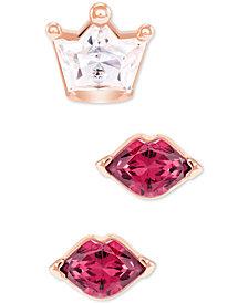 Swarovski Rose Gold-Tone 3-Pc. Set Crystal Crown & Lips Stud Earrings