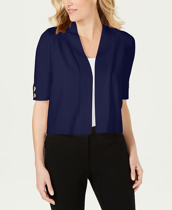 JM Collection Petite Open-Front Ribbed Cardigan, Created
