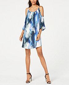Karen Kane Printed Cold-Shoulder Dress