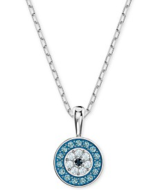 Swarovski Multi-Pavé Evil Eye Pendant Necklace, 14-7/8""