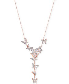 "Rose Gold-Tone Pavé Butterfly Lariat Necklace, 14-4/5"" + 4"" extender"