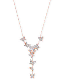 """Swarovski Rose Gold-Tone Pavé Butterfly Lariat Necklace, 14-4/5"""" + 4"""" extender"""