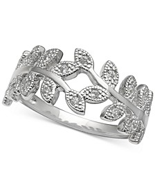 Cubic Zirconia Vine Ring in Sterling Silver, Created for Macy's