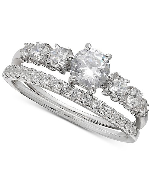 ed47b82aeb73a Cubic Zirconia Bridal Set in Sterling Silver, Created for Macy's