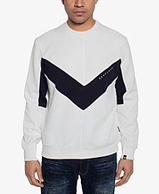 Sean John Men's Chevron Pieced Sweater
