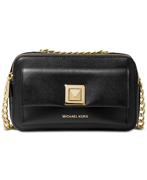 Michael Kors Sylvia Crossgrain Leather Double Zip Crossbody