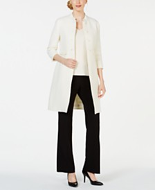 Anne Klein Tweed Topper & Bi-Stretch Flare-Leg Pants
