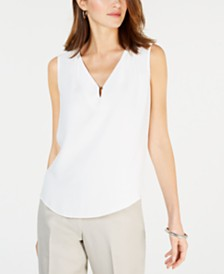 Kasper Embellished V-Neck Top