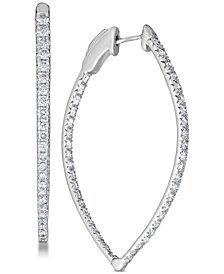 Diamond (3 ct. t.w.) Pavé Hoop Earrings in 14k White Gold