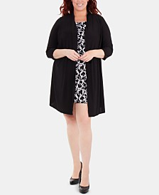 NY Collection Plus Size Layered-Look Cozy with Printed Dress Inset
