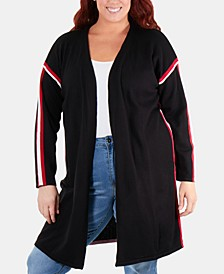 Plus Size Racing-Striped Open-Front Cardigan Sweater