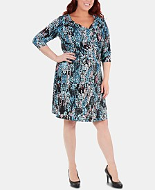 NY Collection Plus Size Printed Ruched Crisscross Dress