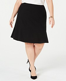 Trendy Plus Size Ruffle-Hem Skirt, Created for Macy's