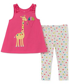 Kids Headquarters Baby Girls 2-Pc. Giraffe Tunic & Printed Leggings Set
