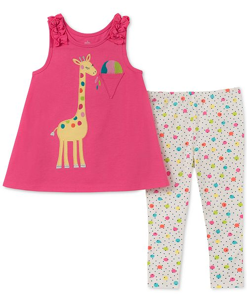 Kids Headquarters Baby Girls 2-Pc. Giraffe Tunic & Printed Leggings Set